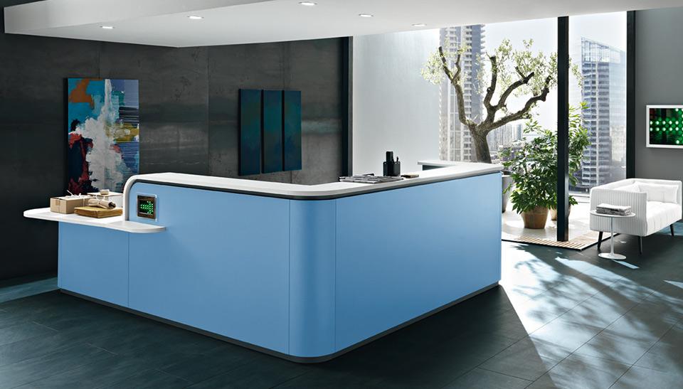 Mostradores y muebles de recepcion mobiliario de oficina for Mobiliario oficina barcelona